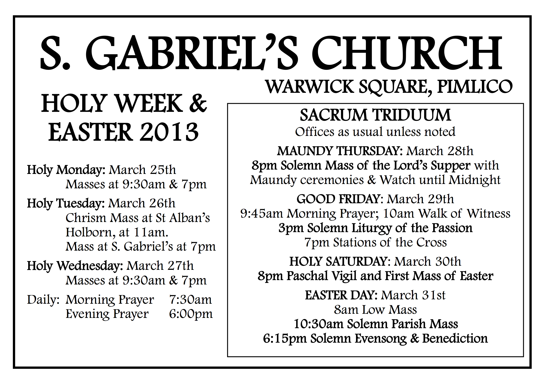 Holy Week 2013